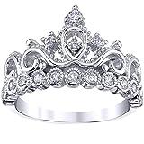 Guliette Verona Silver Princes Crown Ring (7) (Color: White, Tamaño: 3, 4, 5, 6, 7, 8, 9, 10, 11, 12)