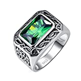 Nuncad 6.85ct Square Cut Created Emerald 925 Sterling Silver Men's Ring Black Vintage Size 6