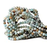 Qiwan 60PCS 6mm Amazonite Gemstone Loose Beads Natural Round stone Crystal Energy Stone Healing Power for Jewelry Making 1 Strand 15