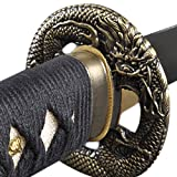 Handmade Sword - Japanese Samurai Katana Swords, Functional, Hand Forged, 1045 Carbon Steel, Clay Tempered, Damascus, Full Tang, Sharp, Dragon Tsuba, Black Wooden Scabbard, Sword Certificate (Color: Dragon648)