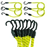 Houseables Bungee Cords with Hooks, Bungie Straps, 4 Pack, 48 Inch Long, Yellow, Flat, Premium Rubber, Bungy Chords, Adjustable, Long Bungi Rope for Dolly, Upcart, Car Trunk, Camping, Luggage, Moving (Color: Yellow)