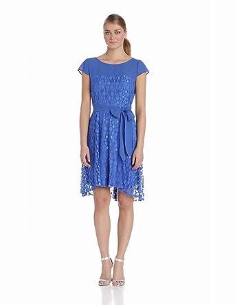 Julian Taylor Women's Short Sleeve Polka Dot Tie Dress, Blue, 10