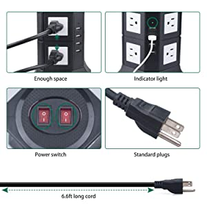 Maximm Smart Power Plug Surge Protector Power Strip Tower 8 AC Outlets + 4 USB Ports, Desktop Charging Station Multiple Plug Outlets with 6.5 feet/2M Long Power Cord 110V Outlet Tower (Black) (Color: Black-2 Layer, Tamaño: 8 AC - 4 USB)