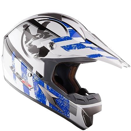 LS2 Mx433 Stripe casque de moto bleu blanc