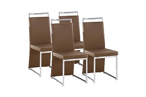 Cavadore 4-er Set Scarlett / Stuhle ohne Armlehne in modernem Design / Lederimitat / Stuhlset Cappuccino / 58 x 45 x 100 cm (T x B x H)