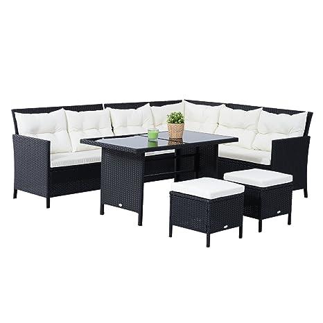 Outsunny® 18 tlg. Sitzgarnitur Sitzgruppe Gartenset Sofagarnitur Gartenmöbel Set Lounge, Polyrattan, Schwarz