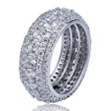 SHINY.U 5 Row 10mm Gold Plated Bling Iced Out CZ Royal Simulated Diamond Eternity Wedding Engagement Band Ring for Men Hip Hop (White Gold, 7) (Color: White Gold)