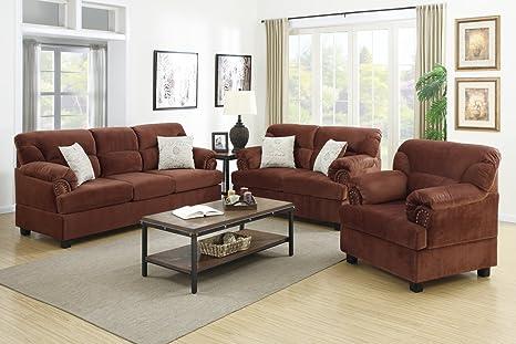 3-Pcs Sofa Set Upholstered Chocolate Colored Microfiber