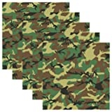 Army Green Camouflage Self Adhesive Assorted Vinyl Sheets 12