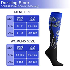 Compression Socks (3 Pairs), 15-20 mmHg is Best Athletic & Medical for Men & Women, Running, Flight, Travel, Nurses, Pregnant (04 Black/Blue/Red, Large/X-Large (US Women 8-15.5/US Men 8-14)) (Color: 04 Black/Blue/Red, Tamaño: Large/X-Large (US Women 8-15.5/US Men 8-14))