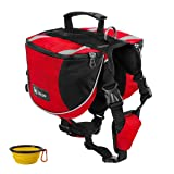 GrayCell Dog Saddlebags Hound Travel Hiking Camping Backpack for Medium Large Dogs (Red,M) (Color: Red,M, Tamaño: Medium)