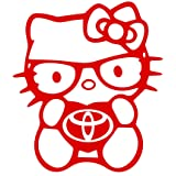 Love Hello kitty toyota tacoma prius corolla decal vinyl sticker 7'' width by 8'' height (red) (Color: red)