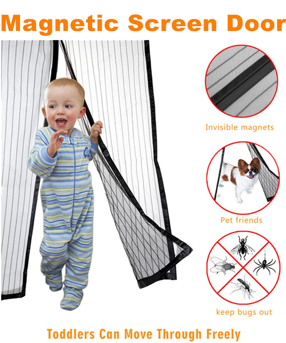 "Magnetic Screen Door-Mesh Door Curtain-Full Frame Velcro - Mesh Net Screen Door Magnetic Anti Mosquito Bug --ACTUAL SCREEN SIZE 36""x83 Fits Door Openings up to 34""x82"" MAX"