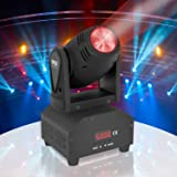 Rotating DJ Party Stage Light - Moving Head Professional Night Club Disco Stage Lights w/ RGB Color LED Projector Bulb, Flashing Disco Strobe, Beat Sync Motion Effect and DMX Control - Pyle PDJLT40 (Color: Black, Tamaño: PDJLT40)