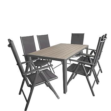 7tlg. Gartengarnitur, Aluminium Gartentisch mit Polywood-Tischplatte Grau 150x90cm + 6x Aluminium-Hochlehner mit 2x2 Textilenbespannung, 7-fach verstellbar, klappbar, anthrazit / Sitzgruppe Sitzgarnitur Gartenmöbel Terrassenmöbel