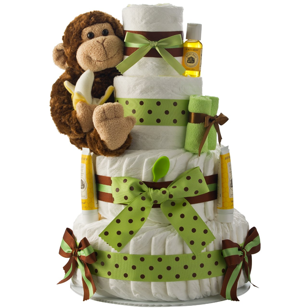 Our Lil' Monkey 4 Tier Green Diaper Cake