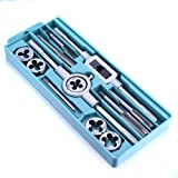 CSLU 12PCS Tap and Die Set Combination Alloy Steel Hand Tools Metric Size for Wood Plastic Soft Metal Steel