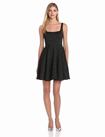 Jill Jill Stuart Women's Jacquard Fit and Flare Dress, Black, 2