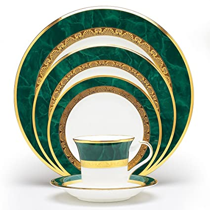 Green Marbled and Gold-Banded Fitzgerald 5-Piece Place Setting by Noritake
