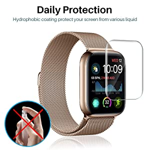 [6 Pack] L K Screen Protector for Apple Watch Series 5/4 40mm, [Full Coverage] [Self Healing] Anti-Bubble for iWatch 5 HD Clear Flexible TPU Film