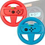 Orzly Steering Wheels [TWIN PACK] Compatible With Switch Joy-Cons - Pack of RED & BLUE Steering Wheel Accessory Attachments [with Built-In Light Display Indicators] for use with Nintendo Switch (Color: 1x BLUE & 1x RED Steering Wheel for Nintendo Switch)