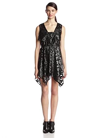 Anna Sui Women's Laser Cut Applique Mesh Dress, Black, 4