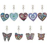 QiaoShiRen 9 Pieces DIY Diamond Painting Keychain, Butterfly and Love Heart Diamond Painting Kits 5D Full Drill Diamond Painting Key Rings for Phone, Bag, Home Decor