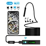 Endoscope iPhone Borescope iPhone, UBRU WIFI Inspection Camera 1200P HD IP68 Semi-Rigid Flexible Snake Camera for iOS Android Tablet Mac Windows to Inspecting Engine Sewer Pipe Vehicle 11.5FT