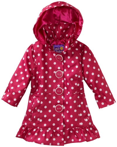 Pink Platinum Baby-girls Infant Polka Dot Trench Jacket, Fuschia, 18 Months