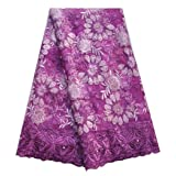 SanVera17 African Lace Net Fabrics Nigerian French Fabric Rope Embroidered and Manual Beading Guipure Cord Lace for Party Wedding 5 Yards (Purple) (Color: Purple, Tamaño: 48 Inches)
