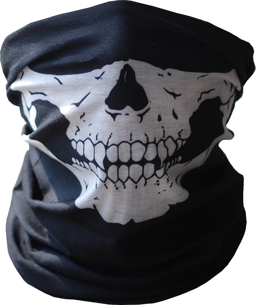 Black Seamless Skull Face Tube Mask BUFF