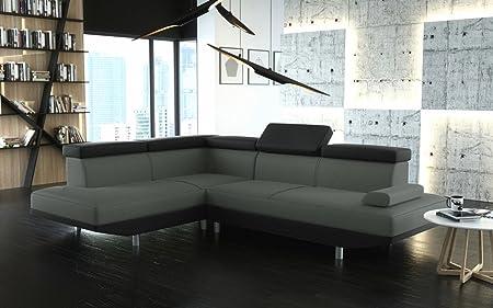 Canapé d'angle STARIO gris et noir ultra moderne angle gauche
