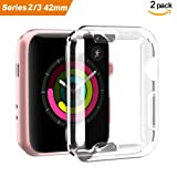 Smiling Apple Watch 3 Case Buit in TPU Screen Protector All-Around Protective Case High Definition Clear Ultra-Thin Cover for Apple iwatch 42mm Series 3 and Series 2(2 Pack) (Color: 42mm Clear, Tamaño: 42mm Clear)