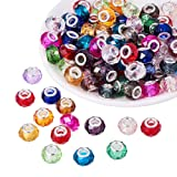 PH PandaHall 100pcs 14mm Mixed Color Glass European Beads with Plating Silver Double Cores Large Hole Beads for Jewelry Making, Hole: 5.5mm (Color: Mixed Color-silver Core 2)