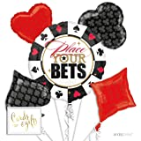Andaz Press Balloon Bouquet Party Kit with Gold Cards & Gifts Sign, Bingo Casino Night Bunko Cards Party Foil Mylar Balloon Decorations, 1-Set (Color: Bingo Casino)
