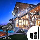 Christmas Projector Lights Outdoor, B-right Snowflake Projection Lights Waterproof LED Christmas Snow Lights with Remote Control, Sparkling Landscape Decorative Lighting for Xmas Thanksgiving Party (Color: Black)