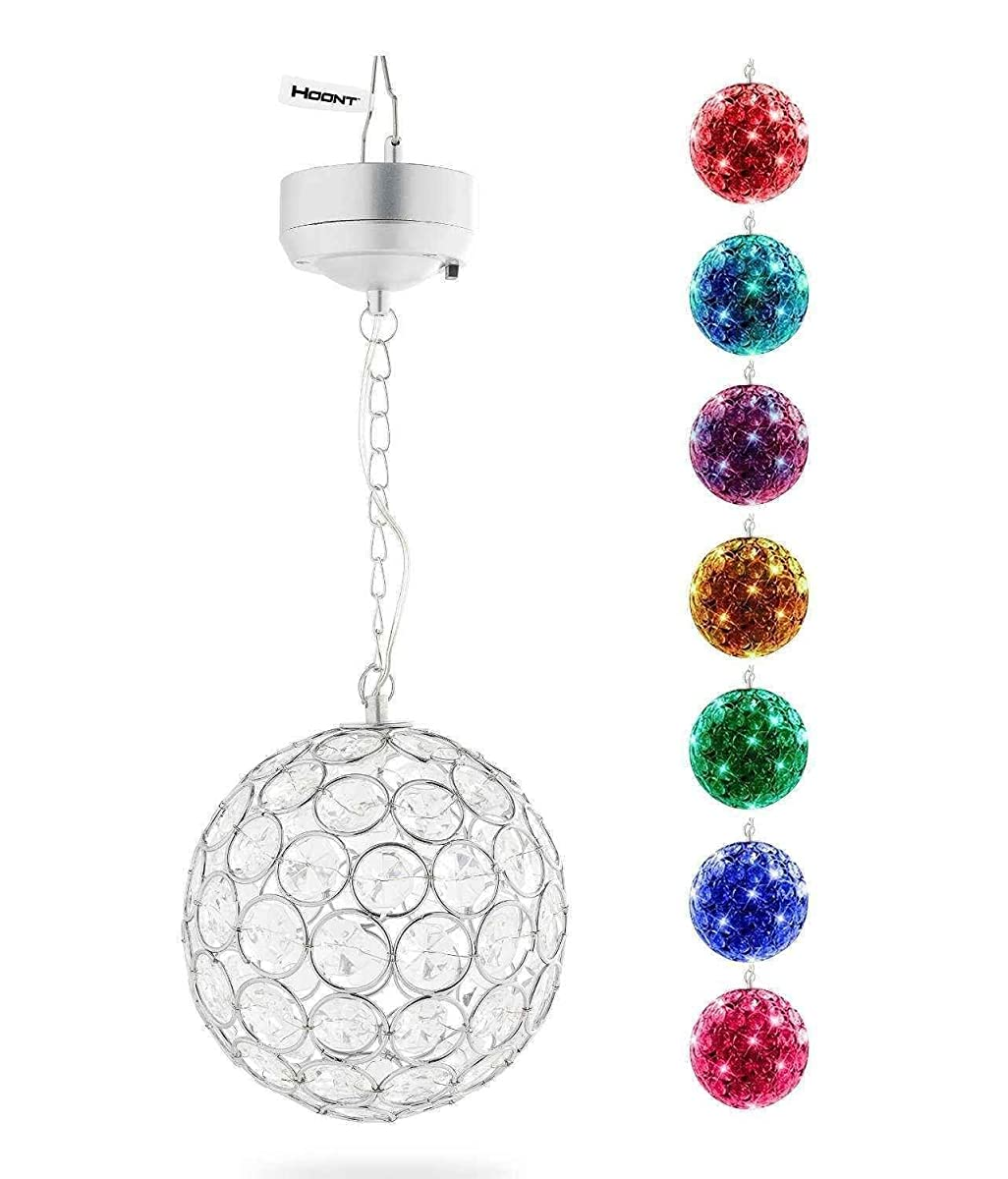 Hoont™ Outdoor Hanging Decorative Sparkling Crystals Gazing Ball with Solar Powered Color Changing LED Light – 6 Inch Diameter