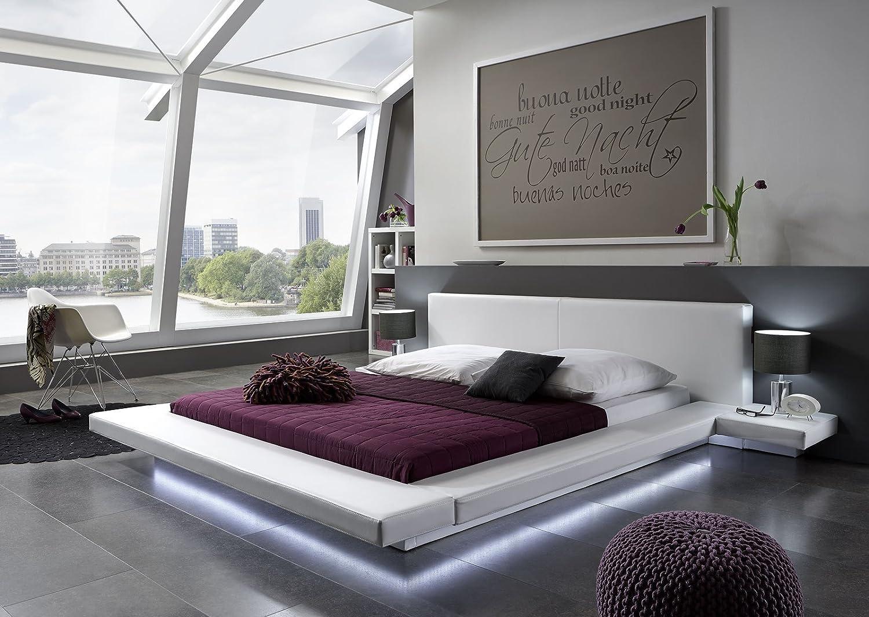 exklusives Design Lederbett 200 x 200cm weiß mit LED Leiste online kaufen