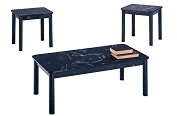 Poundex 3-Piece Coffee Table, Black Marble