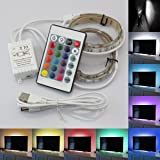 5050 30 LEDs RGB USB LED Light Strip Kit Flexible Adhesive Back Tape  24 Remote Control for HDTV TV Monitor Decoration Multi-color Changing USB Power
