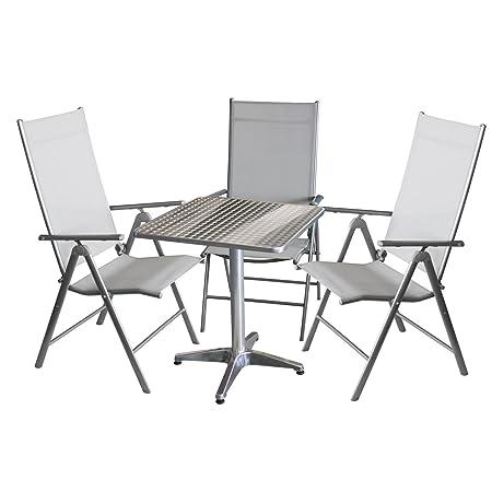 Balkonmöbel-Set Bistrotisch, Aluminium, Tischplatte in Schleifoptik, 60x60cm, klappbar + 3x Hochlehner, klappbar, Metallgestell Silbergrau, Textilenbespannung Grau, Ruckenlehne 7-fach verstellbar