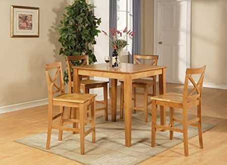 East West Furniture PUBS5-OAK-W 5-Piece Counter Height Table Set, Oak Finish