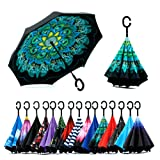 Spar. Saa Double Layer Inverted Umbrella with C-Shaped Handle, Anti-UV Waterproof Windproof Straight Umbrella for Car Rain Outdoor Use (Color: Peacock Ling, Tamaño: X-Large)
