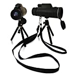 High Power 40x60 Zoom Monocular Telescope For Clear Image And Large Field Of Vision. With Neck Strap, Hand Strap And Folding Tripod. For Bird Watching, Hiking, Camping And Concert. By Lamm'ed
