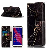Redmi Note 5 Pro Case,DAMONDY Marble Stand Wallet Purse Credit Card ID Holders Design Flip Cover TPU Soft Bumper PU Leather Magnetic for Xiaomi Redmi Note 5 Pro-black gold (Color: black gold)