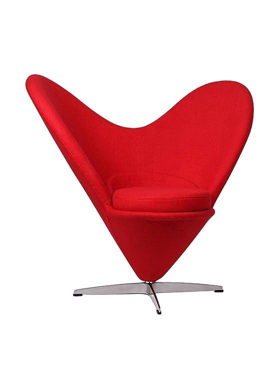 Lo+DeModa Cuore Sedia Foderata, Tessuto/Alluminio/Fibra di Vetro, Rosso, 106x93x22 cm