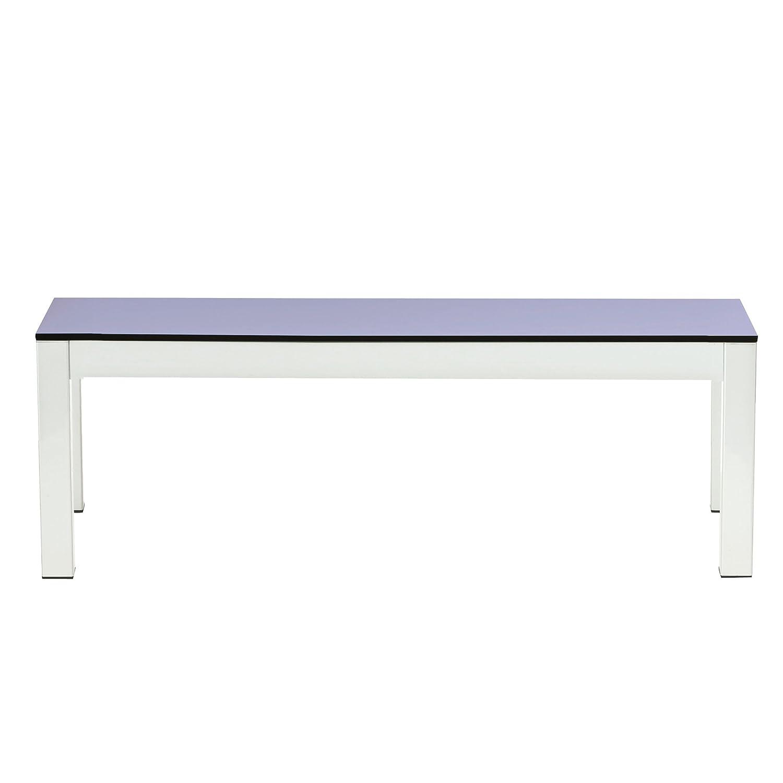 Quadrat Bank HPL taupe/lavendel – Gestell weiß / 165 x 40 cm, h 46 cm kaufen