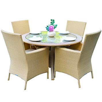 Oxford 4 Seat Natural Circular Outdoor All Weather Rattan Garden Dining Set