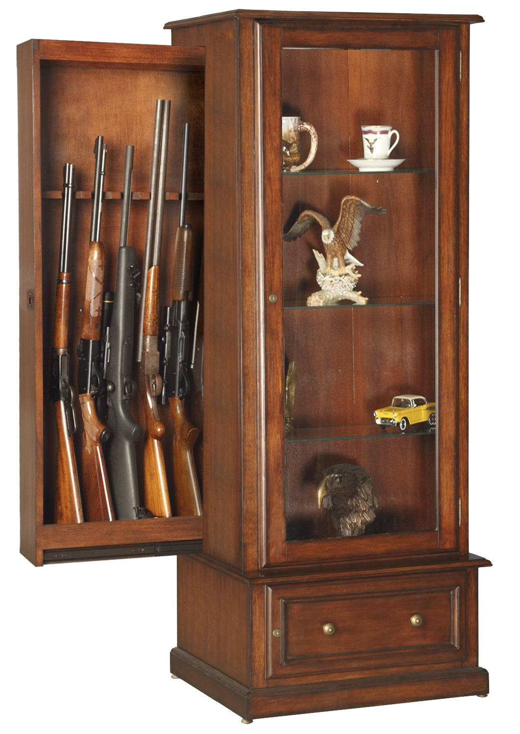 Wooden Gun Cabinet With Etched Glass | kashiori.com Wooden Sofa ...