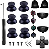 Yosikr 3 Pairs Thumbsticks Joystick for PlayStation 4 PS4 Controller Gamepad with Cross Screwdriver + L2 R2 L1 R1 Trigger Replacement Parts + ABXY Bullet Buttons + D-pad + Small spring (Black) (Color: 1 pack)